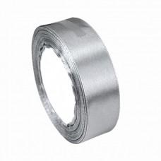 Лента 6 мм атласная серебро 25 м