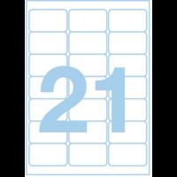 Этикетки самоклеящиеся 63.5x38.1 мм белые, 21 шт./лист