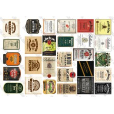 Этикетки Виски, ром, бурбон, ассорти, 28 шт, не деленные