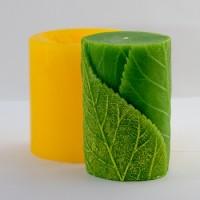 Цилиндр с листиками, форма для свечей силиконовая