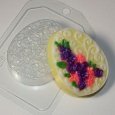 Яйцо плоское Орнамент и цветы, форма для мыла