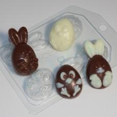 Кролик и цыпленок мультяшные (4 мини), форма для мыла