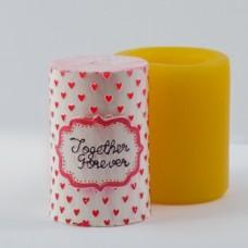 Цилиндр с сердечками 3D, форма для свечей силиконовая