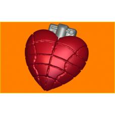407 - Сердце граната, форма для мыла