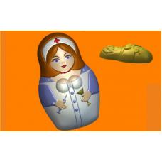 457 - Матрёшка Врач, форма для мыла