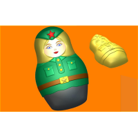 458 - Матрёшка Солдат, форма для мыла