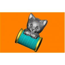 582 - Котёнок и нитки, форма для мыла