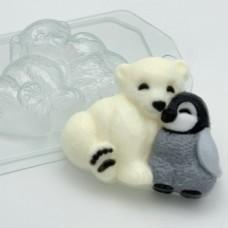 Мишка и пингвин, форма для мыла