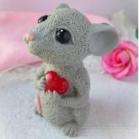 Мышка с сердечком, форма для мыла силиконовая