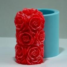 Цилиндр с розами 3D, форма для свечей силиконовая