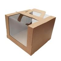 260*260*200 Картонная коробка для подарков с ручками и окошками